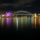 Sydney Habour at Night - Sydney Vivid Festival by Ross Campbell