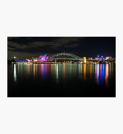 Sydney Habour at Night - Sydney Vivid Festival Photographic Print