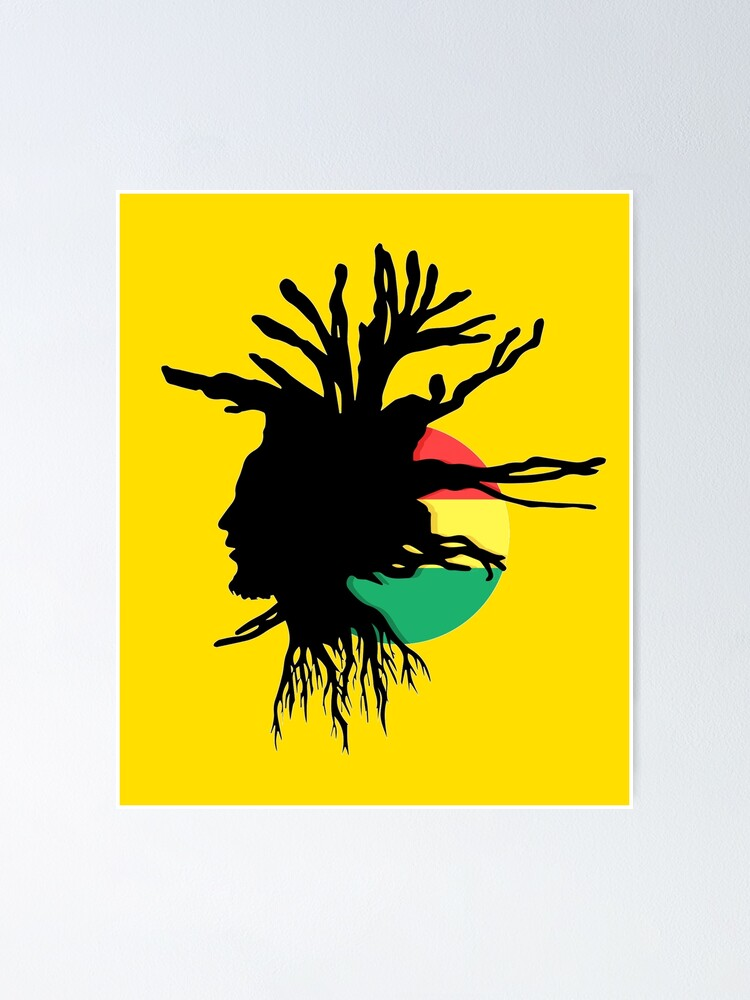 Alternate view of Rasta Dreads Ethiopian Flag Reggae Roots Rastafarian Jamaica Poster