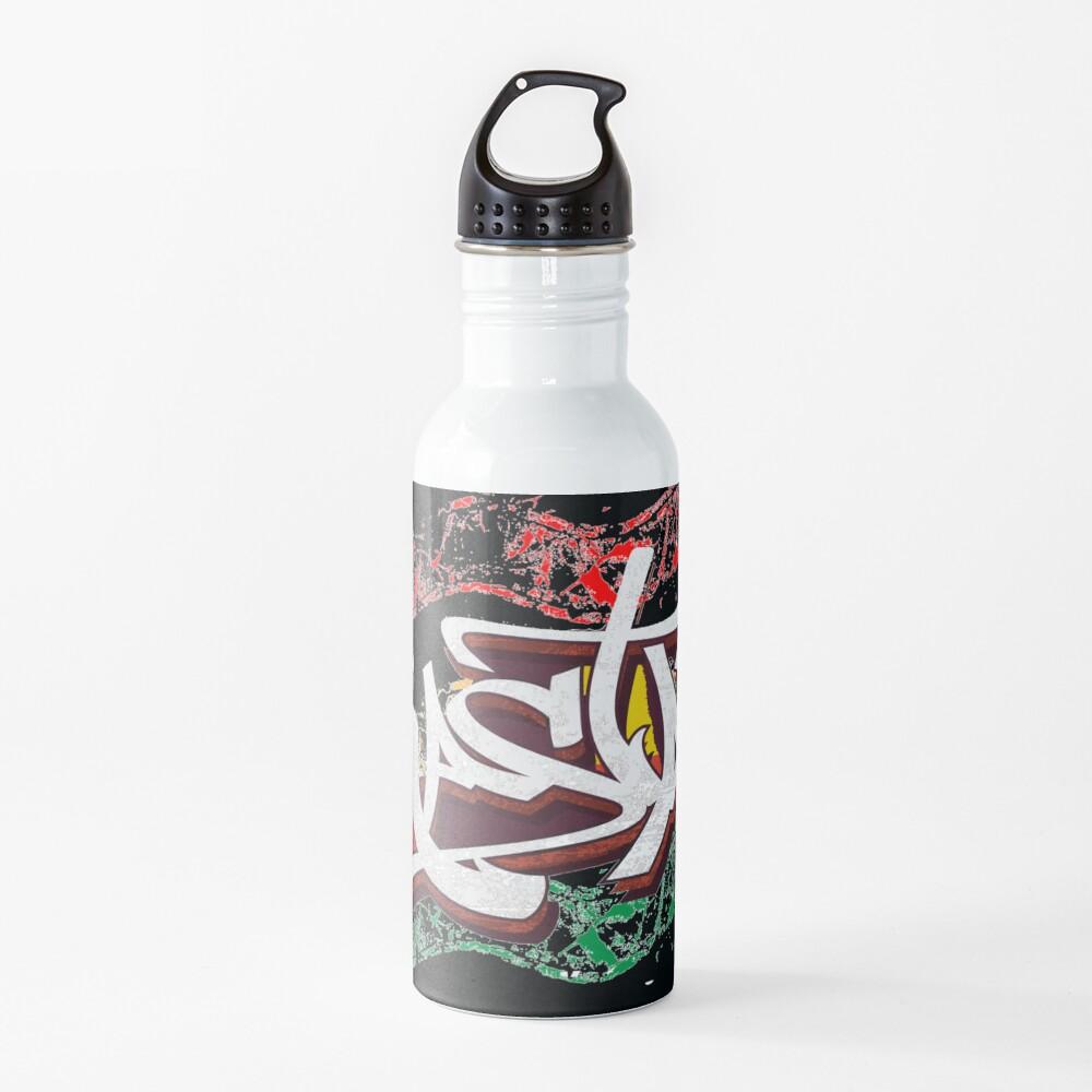 RASTA Rastafarian Jamaica Dreadlocks Roots Ethiopian Flag Graffiti Water Bottle