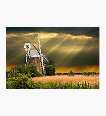 windmill with sunbeam sky Photographic Print