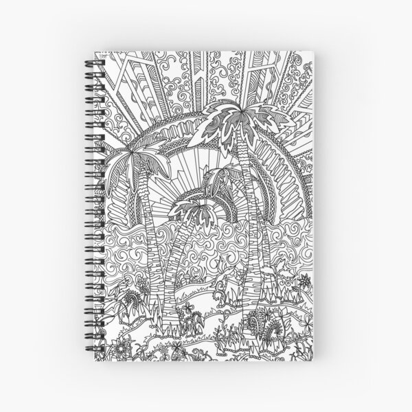 Palm Trees Coloring Art - Doodle Art Alley Spiral Notebook