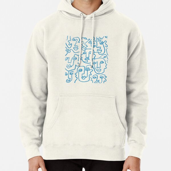 Blue line art faces print Pullover Hoodie