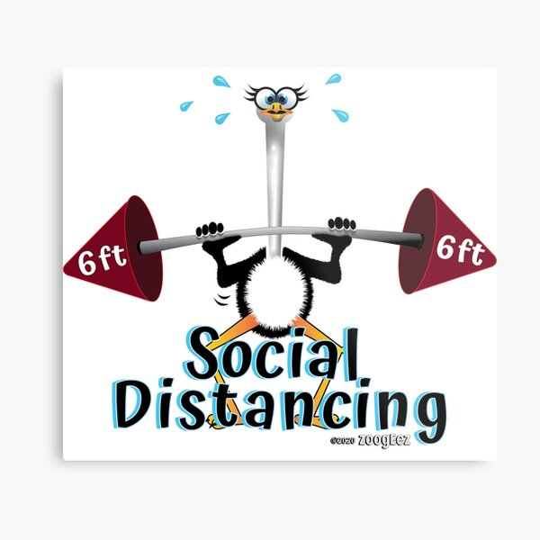 Social Distancing and exercise, 6 feet apart Metal Print