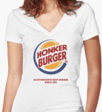 Honker Burger Women's Fitted V-Neck T-Shirt
