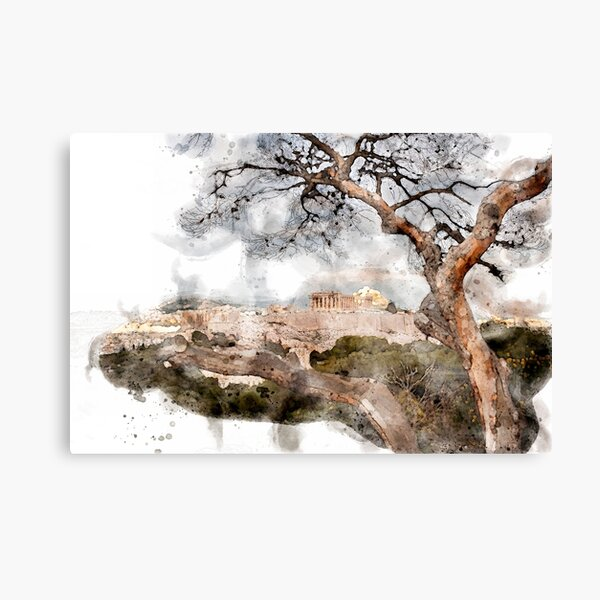 The Acropolis Cityscape Digital Watercolor Canvas Print