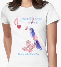 Blue Bird and Love Notes-lettered T-Shirt