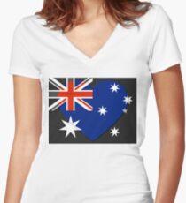 Australia Flag T-shirt Women's Fitted V-Neck T-Shirt