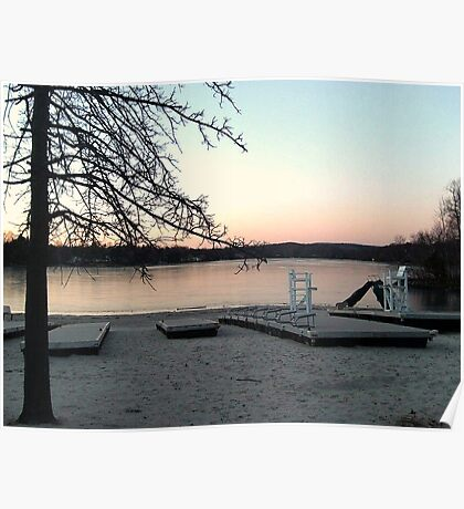 Lifeguard Chair in the Snow - the Beach at Pines Lake, Wayne NJ Poster