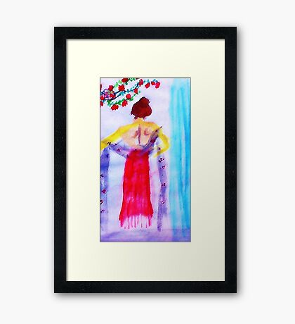 Lady in red, watercolor Framed Print