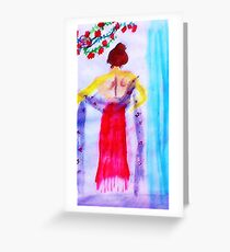 Lady in red, watercolor Greeting Card