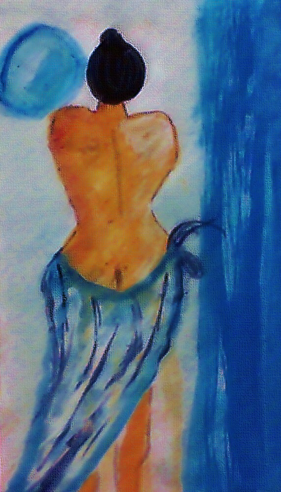 Lady in blue,watercolor by Anna  Lewis, blind artist
