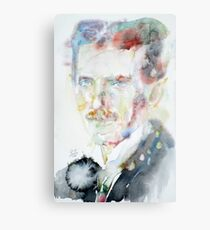 NIKOLA TESLA - watercolor portrait.3 Metal Print