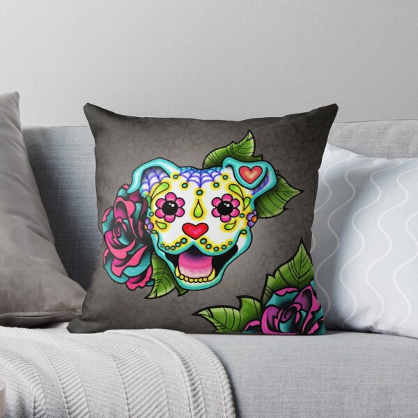 Smiling Pit Bull in White - Day of the Dead Pitbull - Sugar Skull Dog Throw Pillow