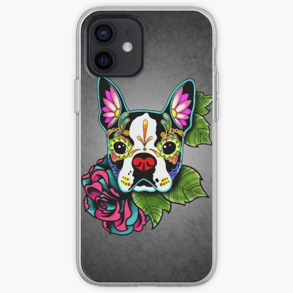 Boston Terrier in Black - Day of the Dead Sugar Skull Dog iPhone Soft Case