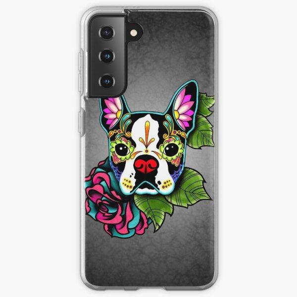 Boston Terrier in Black - Day of the Dead Sugar Skull Dog Samsung Galaxy Soft Case