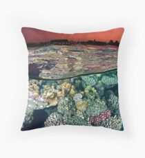 Sunset at the Red Sea Reef Throw Pillow