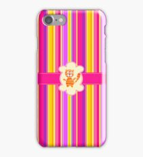 Cat on Striped Background iPhone Case/Skin