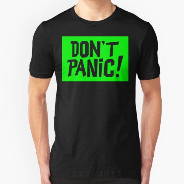 NDVH Don't Panic - Green 2 H2G2 Slim Fit T-Shirt
