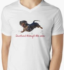 Daschund Through The Snow Men's V-Neck T-Shirt