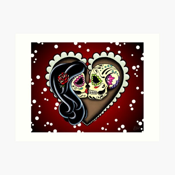 Ashes - Day of the Dead Couple - Sugar Skull Lovers Art Print