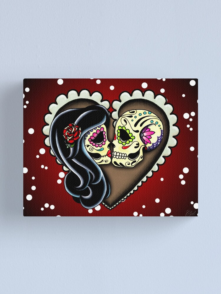 Alternate view of Ashes - Day of the Dead Couple - Sugar Skull Lovers Canvas Print