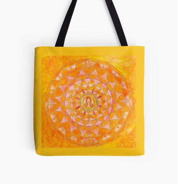 Leo horoscope free-hand mandala - Renate van Nijen All Over Print Tote Bag