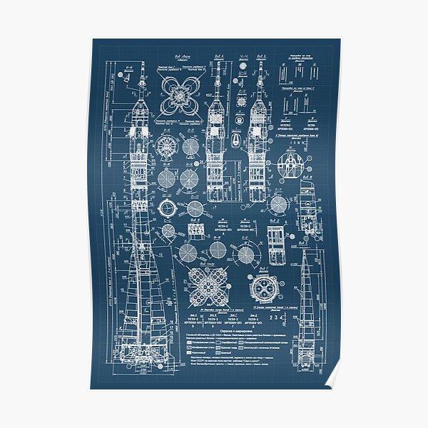 Soviet Rocket blueprint patent Poster