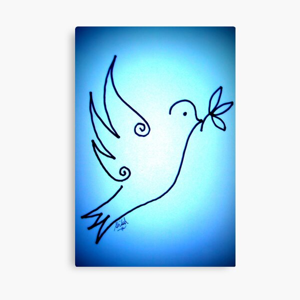Blue Peace Dove Canvas Print