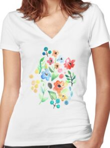 Flourish - Watercolor Floral Women's Fitted V-Neck T-Shirt