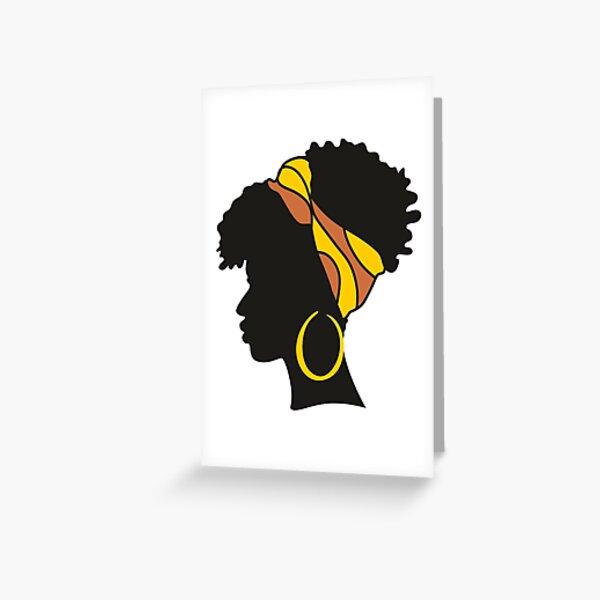 Black Natural Hair, Afro Natural Hair, Natural Curly Hair Greeting Card