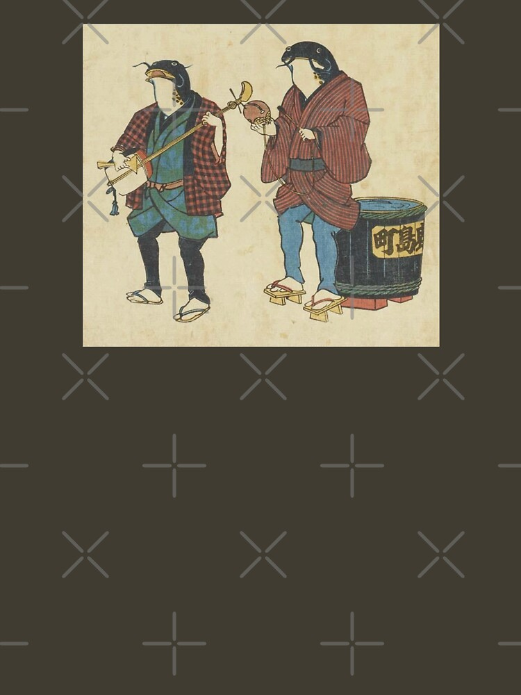 Catfish As Street Musicians Folk Punk Fashion Traditional Vintage Graphic Print by thespottydogg