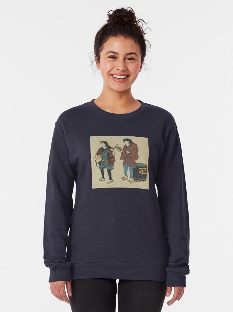 Alternate view of Catfish As Street Musicians Folk Punk Fashion Traditional Vintage Graphic Print Pullover Sweatshirt