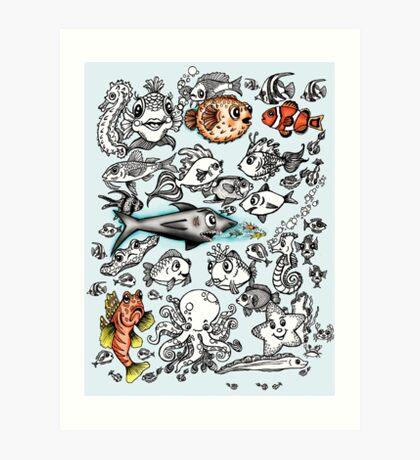Cartoon Fishies  Art Print