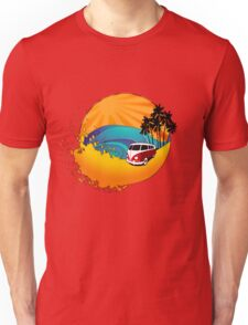 Camper on sunset beach Unisex T-Shirt