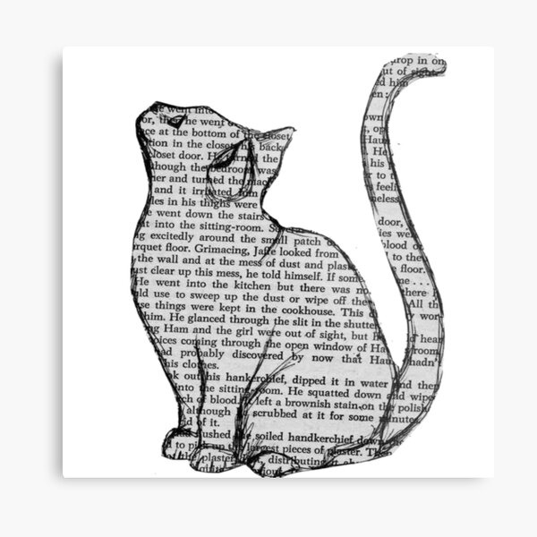 books and cats and books and cats Metal Print