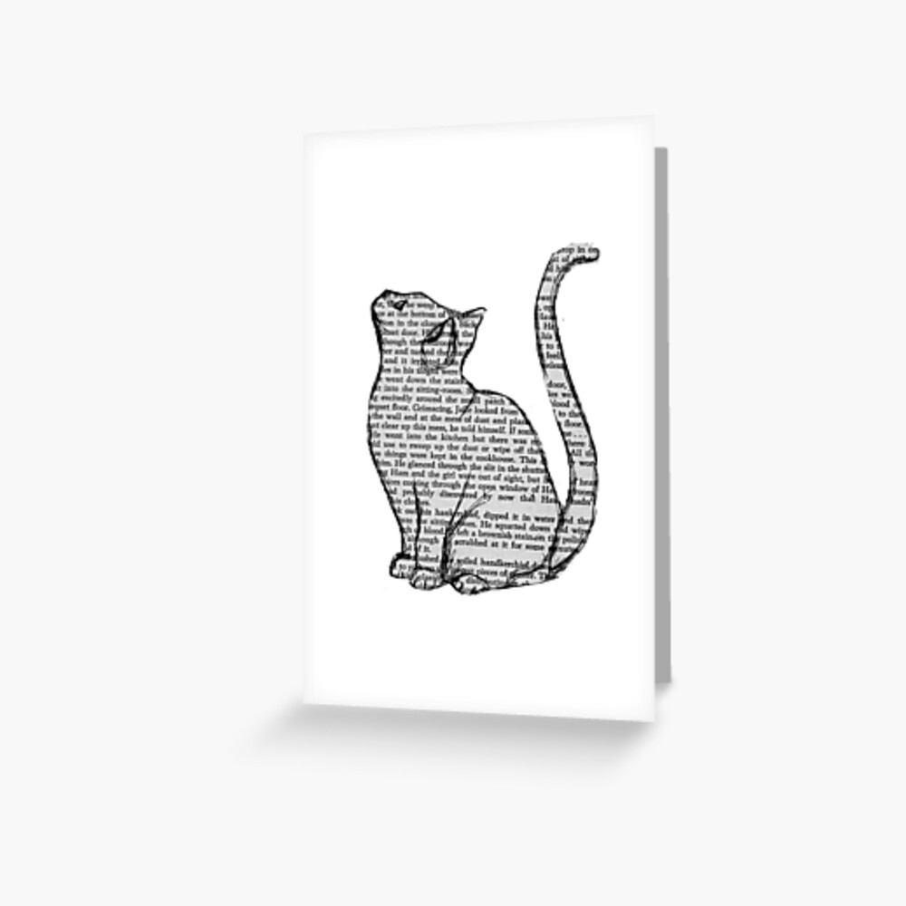 books and cats and books and cats Greeting Card