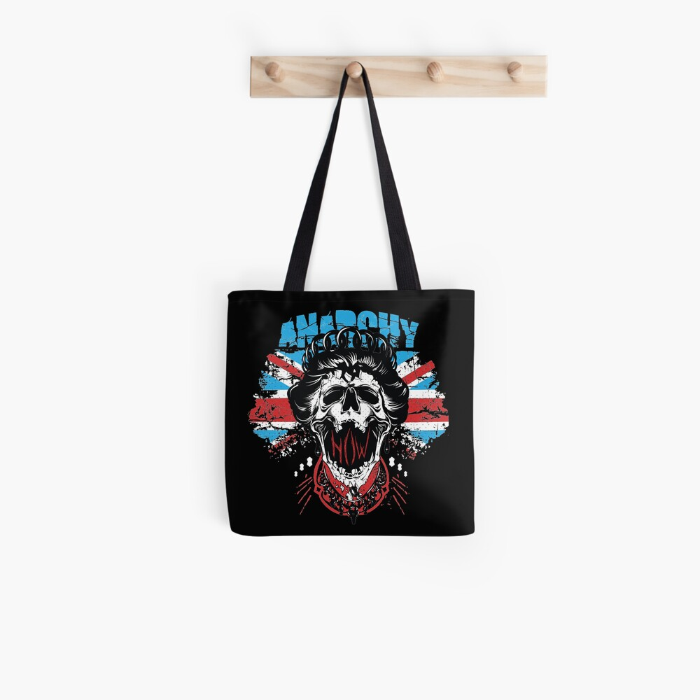 Union Jack Flag Anarchy In The UK Queen Skull United Kingdom Retro Pride  Tote Bag