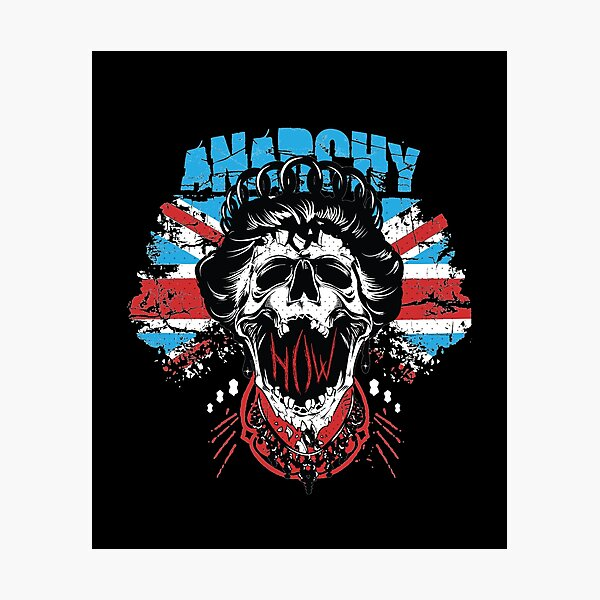 Union Jack Flag Anarchy In The UK Queen Skull United Kingdom Retro Pride  Photographic Print