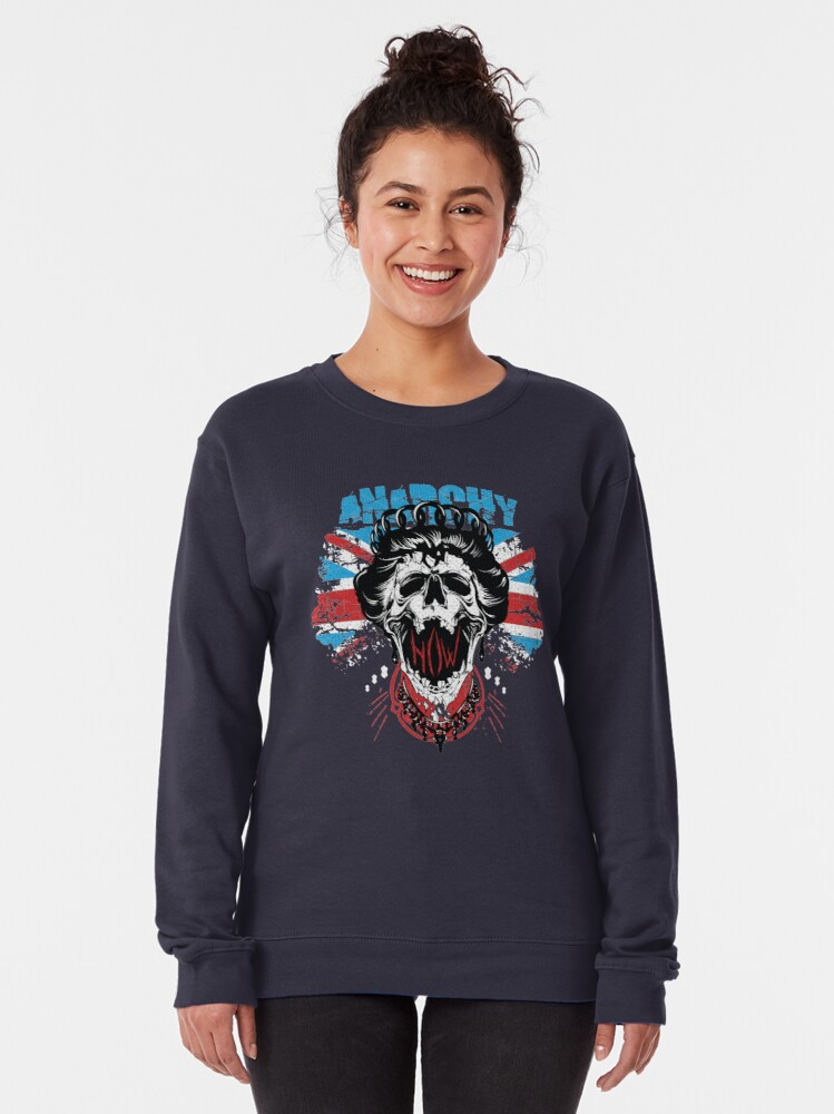 Alternate view of Union Jack Flag Anarchy In The UK Queen Skull United Kingdom Retro Pride  Pullover Sweatshirt