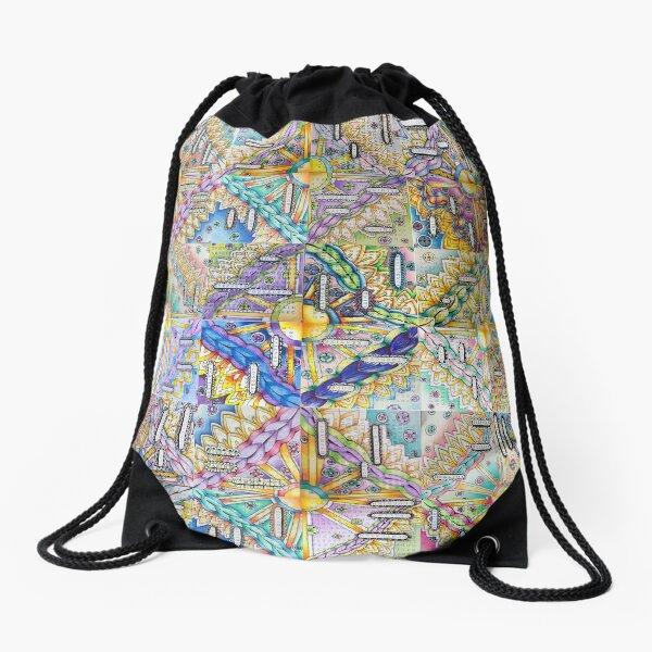 A Community Mosaic of Inspirational Words and Art Drawstring Bag