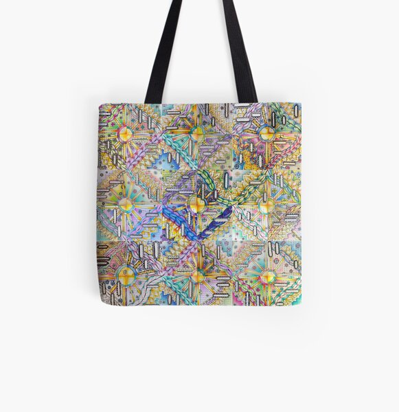 A Community Mosaic of Inspirational Words and Art All Over Print Tote Bag