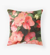 Peach Colored Flowers Throw Pillow