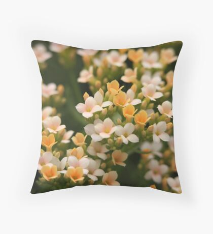 Yellow and White Flowers Throw Pillow