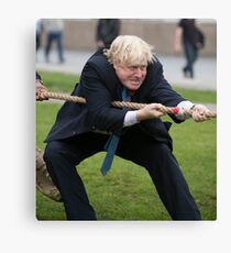 Boris Johnson grits his teeth during tug of war Canvas Print