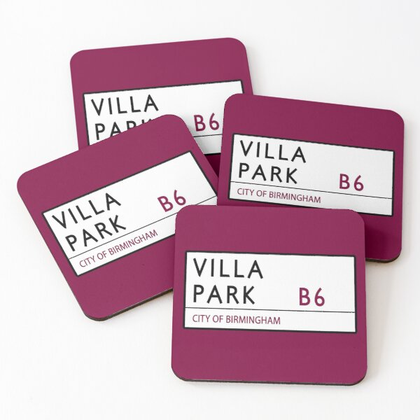 Villa Park Road Sign Coasters (Set of 4)