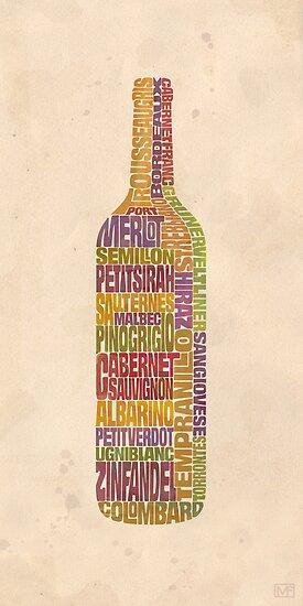 Bordeaux Wine Word Bottle by mitchfrey