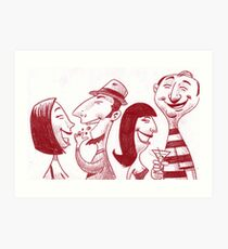 People at the Super Bowl party. Art Print