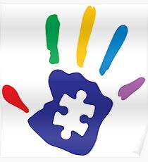 Colorful Autism Hand Poster