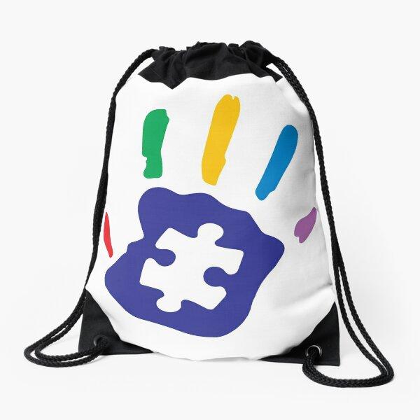 Colorful Autism Hand Drawstring Bag